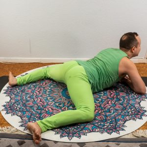 Frog pose in March 16th 2021.  I love frog pose, it's a fantastic hip opener and stretch for upper back.