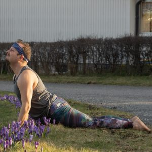 Cobra pose in April 6th 2021. Happy World Health Day! Today is any animalasana and my choice is Cobra pose or Bhujangasana, modified with a hip lift to save the crocuses.