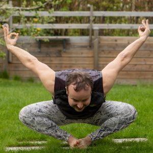 Floating Bound Angle in May 15th 2021. One of my favorite yoga shapes is the hybrid of Bound Angle Pose and Benu Bird Pose, making the body form an ancient symbol that I don't know the name fo