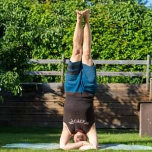 Bound headstand in June 8th 2021. I bring five types today. First out is Baddha Hasta SirsasanaB or Bound headstand. Second is Sirsasana with a leg twist. Third is Tripodheadstand, which is th