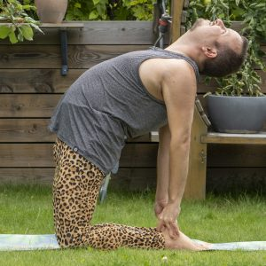Camel pose in August 14th 2021. Today is Open your heart with Camel Pose or Ustrasana. I've seen many inspiring variations in the gallery, but still feel most comfortable with the basic form.